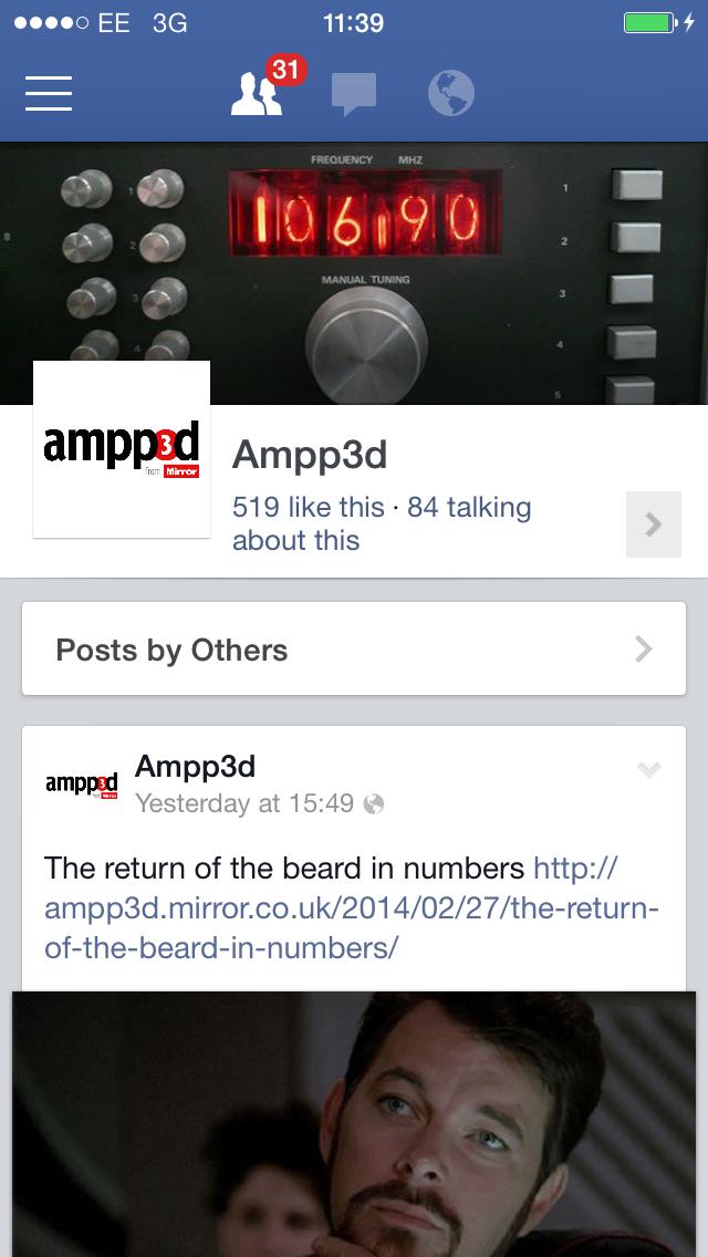 Ampp3d Facebook page