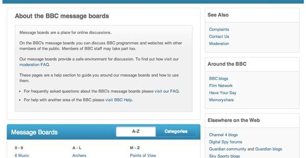 BBC Messageboards in 2013