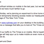 The NYT forcing staff to use their mobile site sends an important message