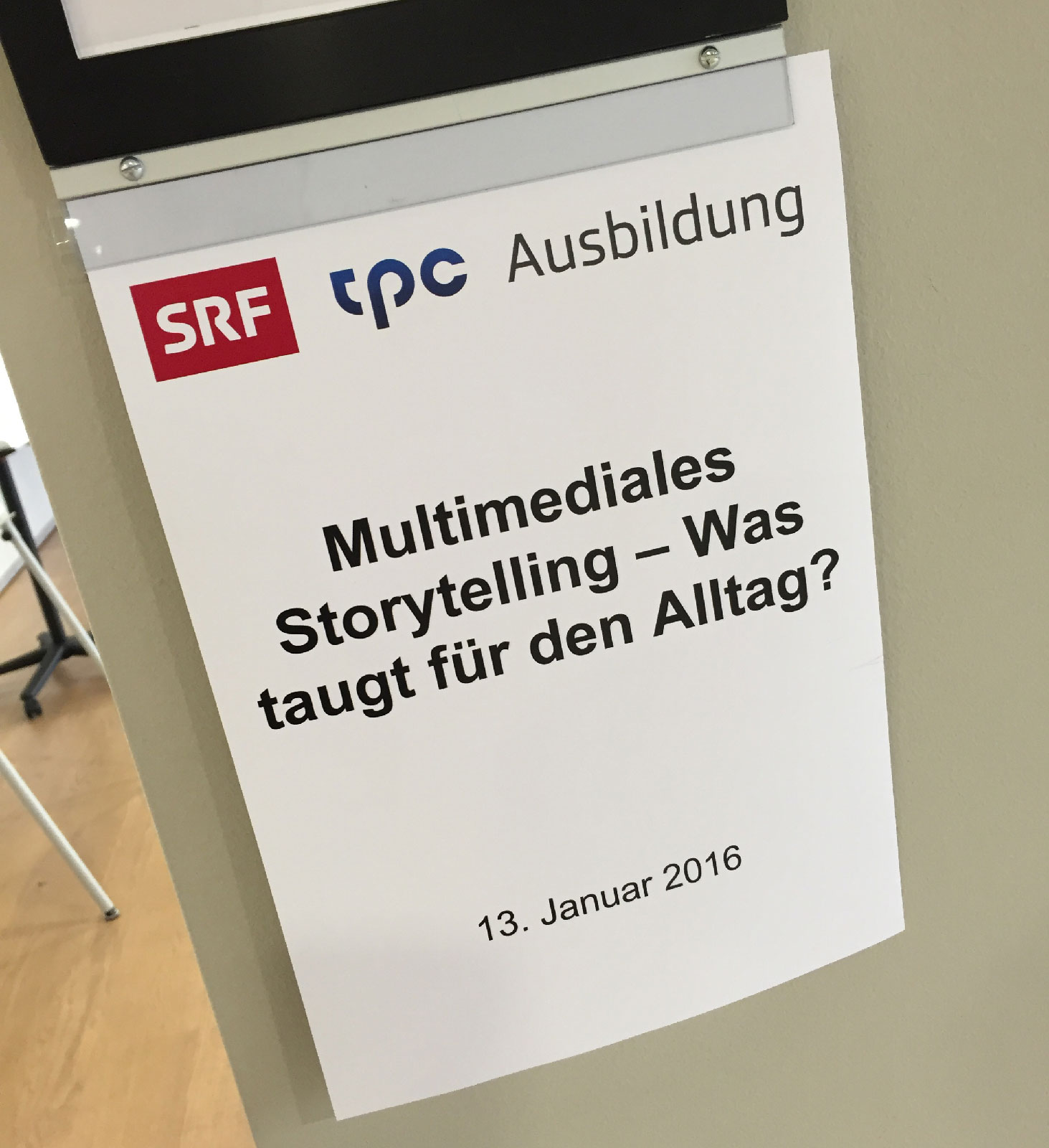 SRF workshop sign