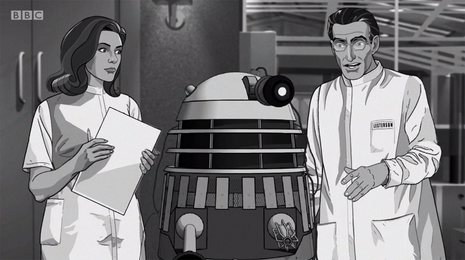 Janley and Lesterson in the animated 'Power of the Daleks'