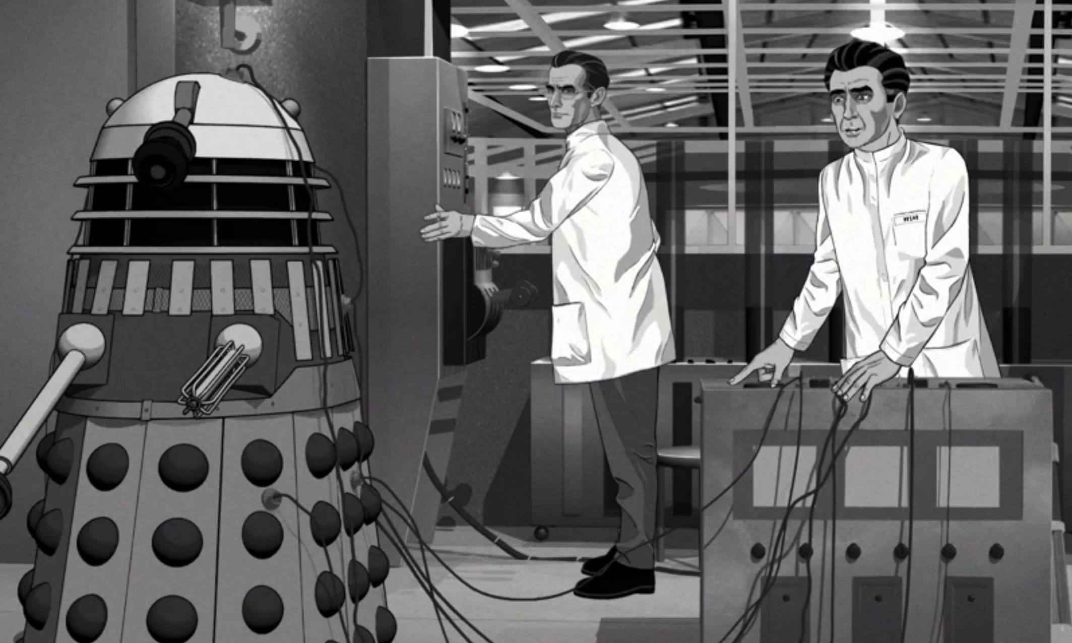 Robert James, as Lesterson (centre), experimenting on a Dalek