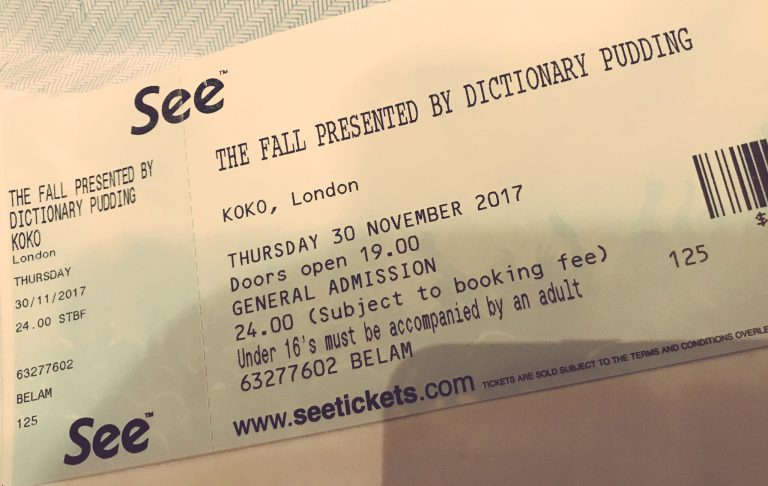 Unused The Fall ticket for cancelled Koko gig